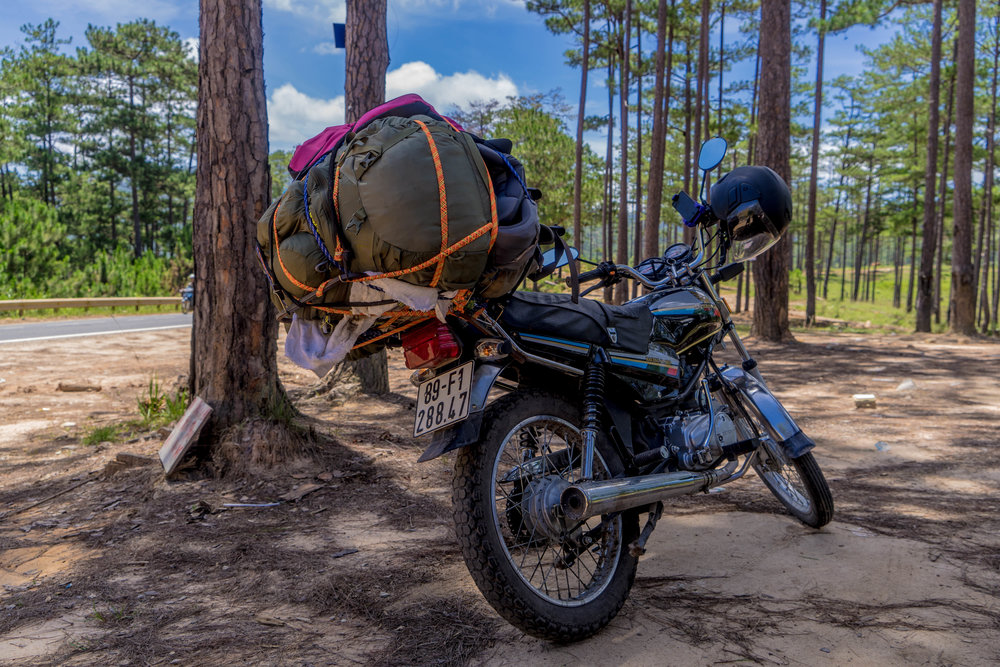 My motorbike fully packed and loaded during my trip!