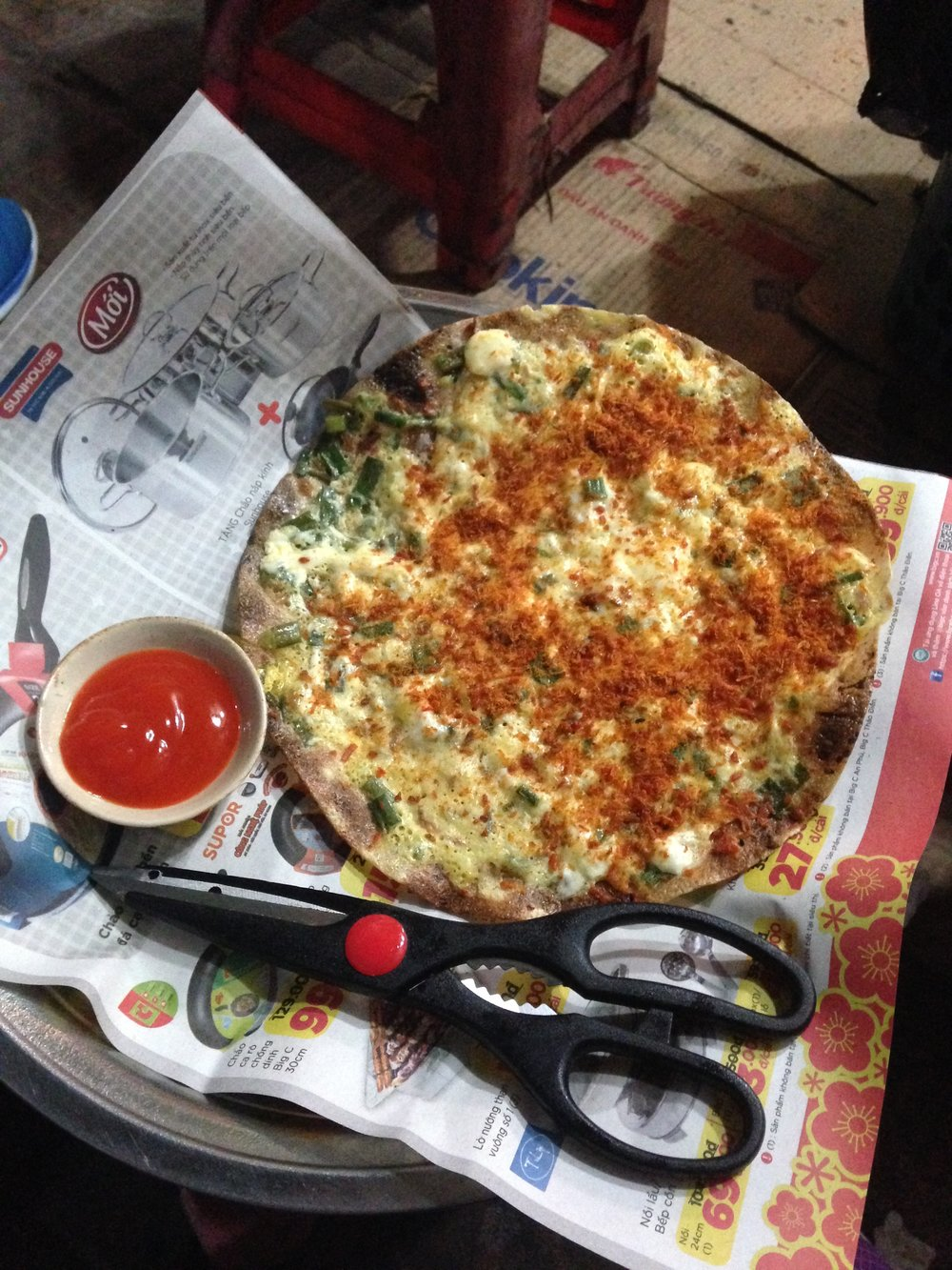 """""""Vietnamese Pizza or Bánh Tráng Nướng. Yes, you cut your own pieces with the scissors!"""