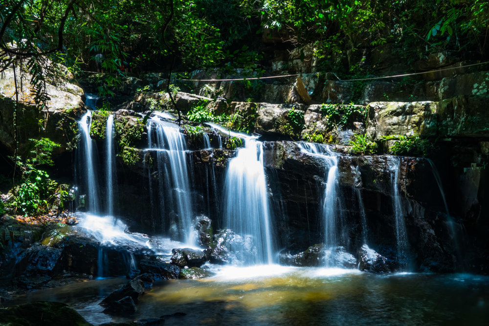 A waterfall in the Botanical Gardens of Phong Nha