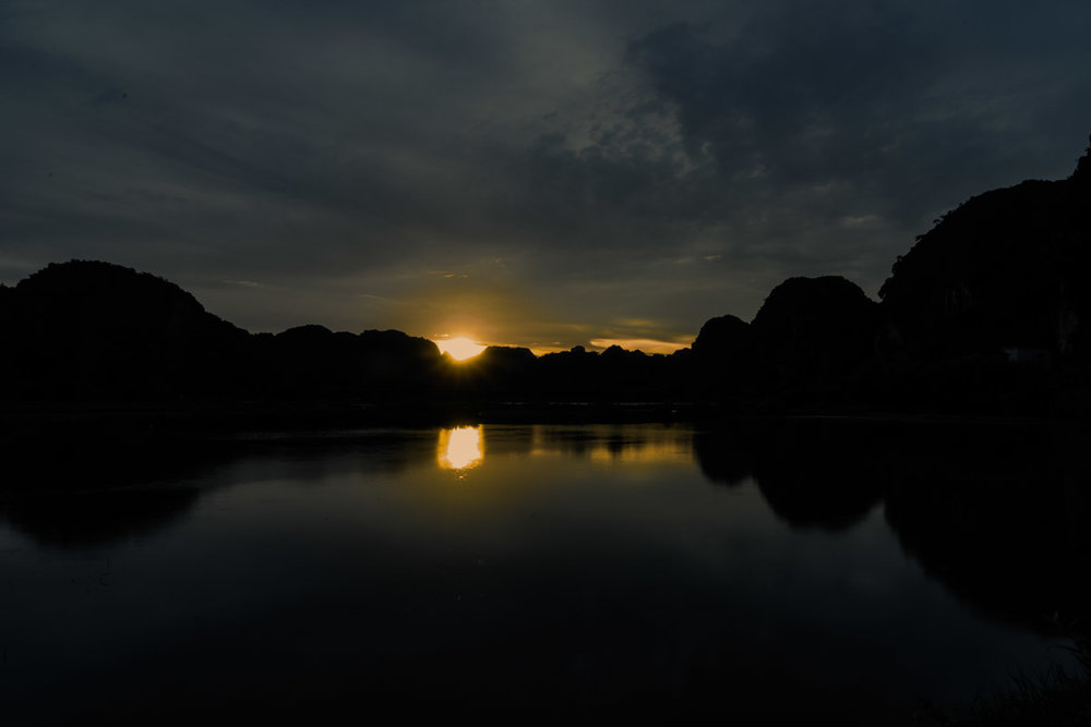 The sunset on my last night in Ninh Binh by my homestay