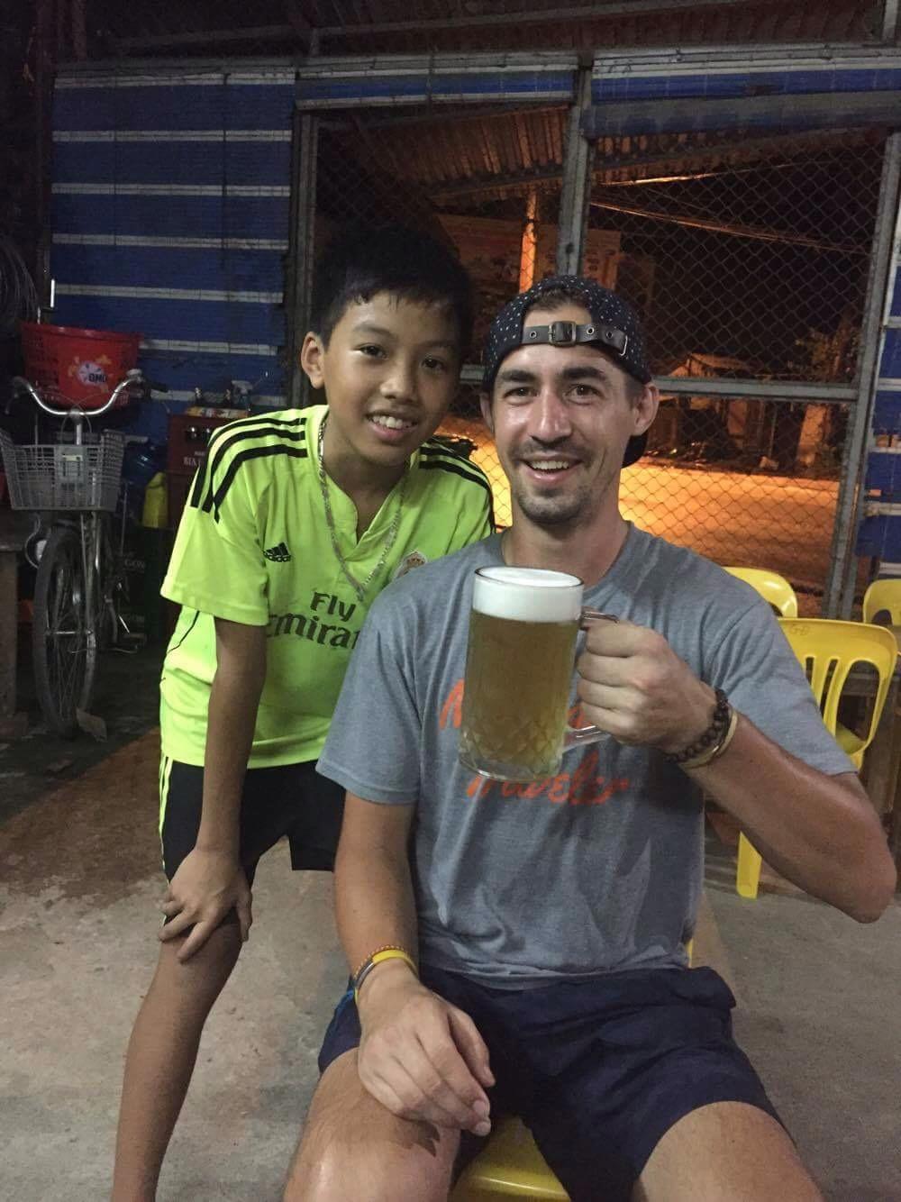 Best bartender and beer pourer in all of Vietnam. Hiding in a tiny beer garden in Ha Giang!