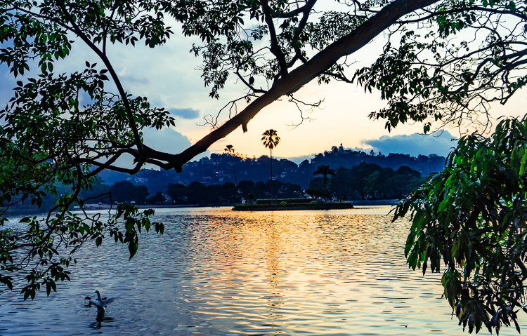 Sunset over Kandy Lake