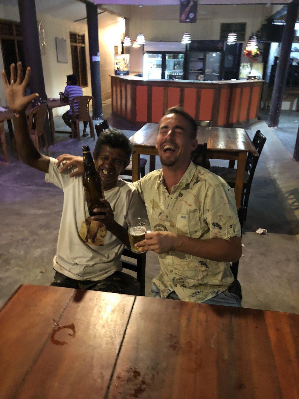 Local Buddy at a bar in Arugam Bay