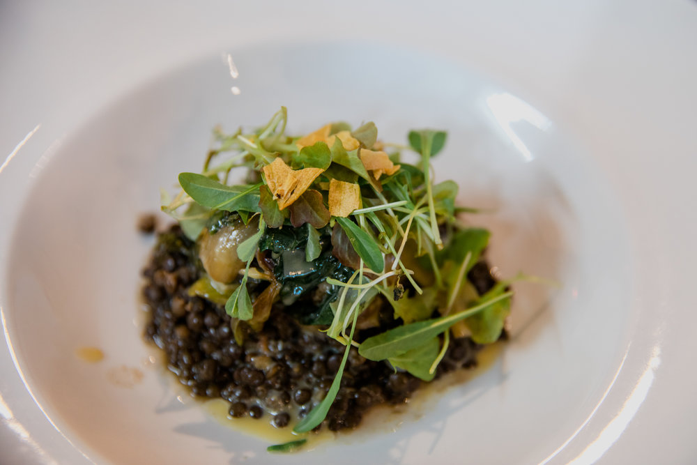 Black Lentils with miso butterscotch - bitter greens - garlic chips