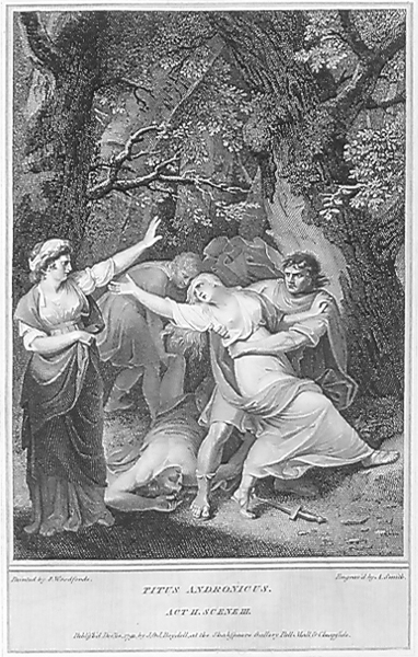 Act II, Scene 3: Tamora's cruelty to Lavinia by Samuel Woodforde in 1792.