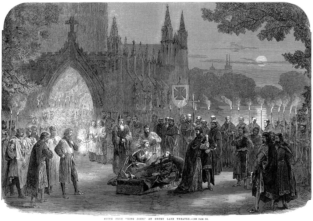 "Scene from ""KING JOHN"" at Drury-Lane Theatre, as published in The Illustrated London News on December 9, 1865."