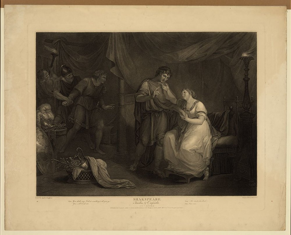 Troilus and Cressida, Act V, Scene II, an engraving from 1795 by Luigi Schiavonetti after a 1789 painting by Angelica Kauffmann.