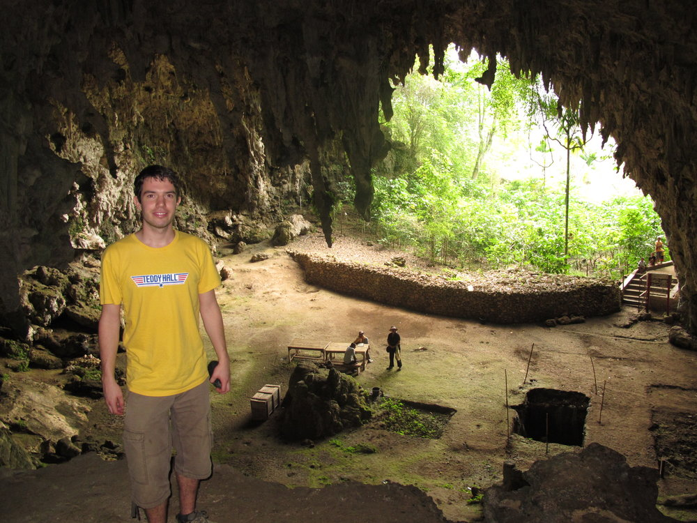 Nick in the famous Liang Bua cave, where Homo floresiensis was discovered