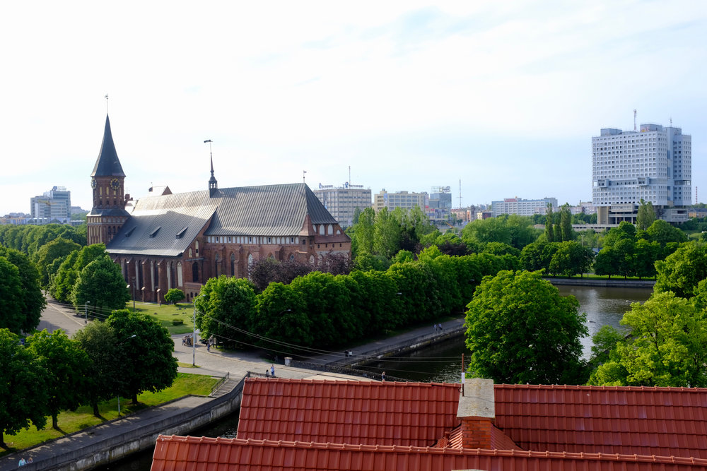 Königsberg Cathedral (left) and the House of Soviets (right), Kaliningrad.  Source