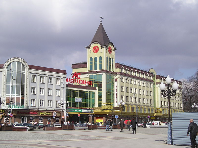 The Clock Tower (right), known today as Kaliningrad Passage, Victory Square, Kaliningrad.  Source