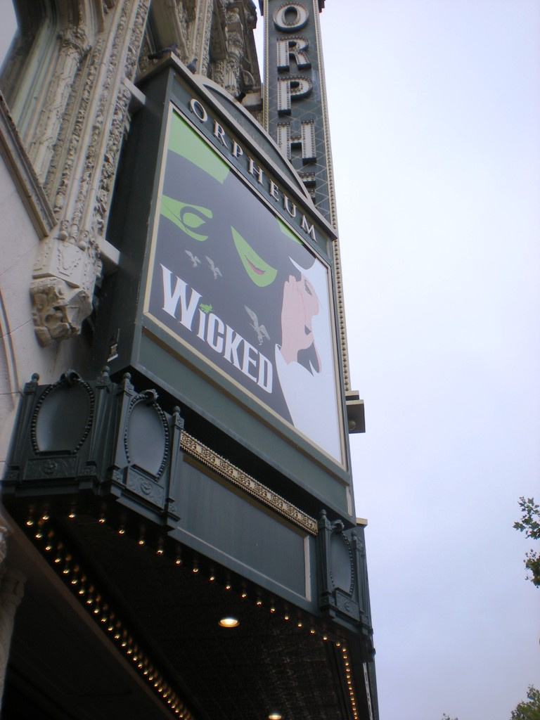 """Wicked ran at the Orpheum Theatre in San Francisco for almost two years""  by  Sarah Steirch  was originally posted as  ""Wicked, Orpheum Theatre, San Francisco, August 2009""  is licensed under  CC BY-SA 2.0"