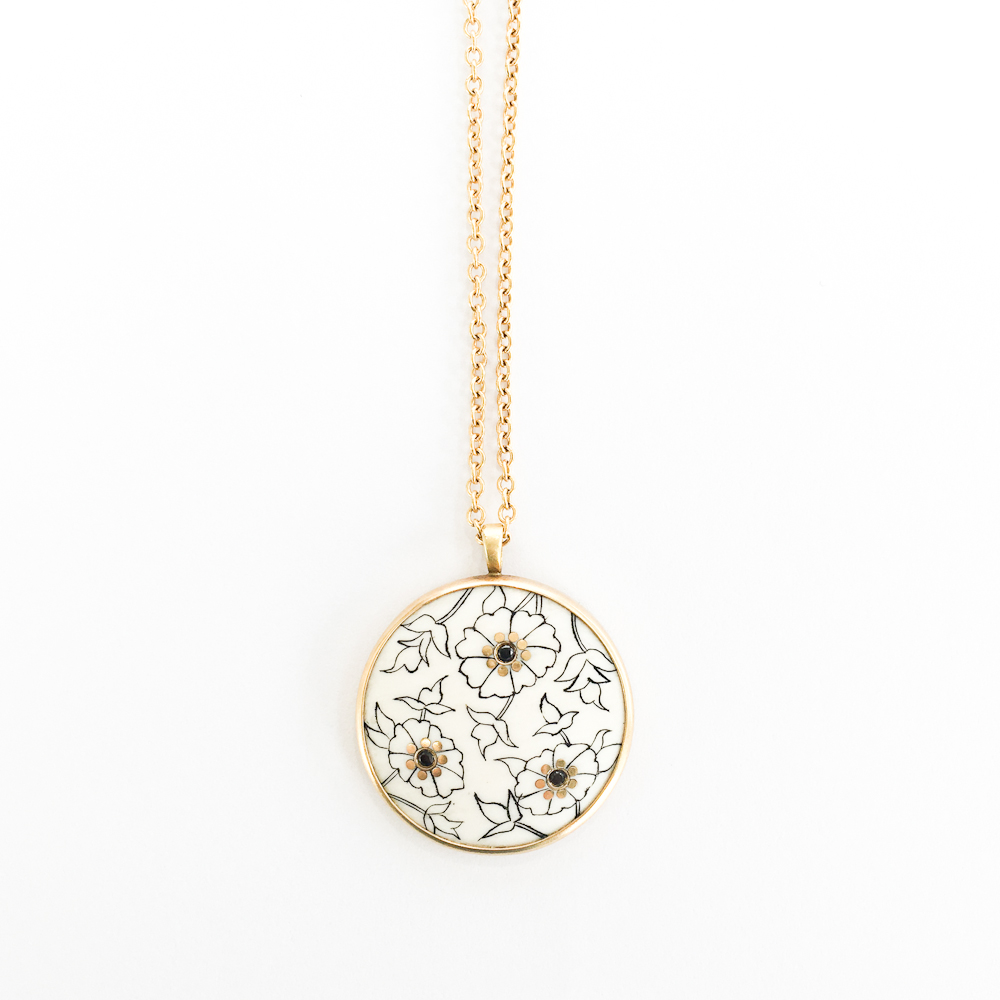 18k Paisley Ivory Disc Necklace -$3,850