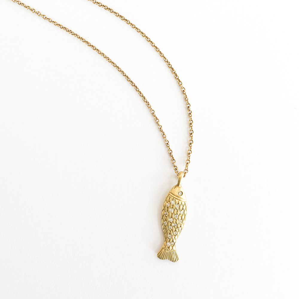 18k Fish with Diamond Scales Necklace -$1,625