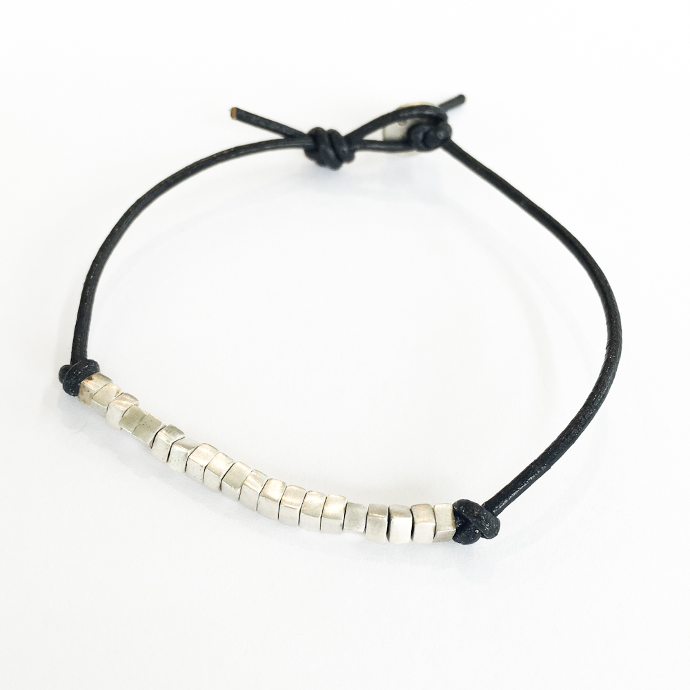Sterling Square Beads on Leather Bracelet -$245