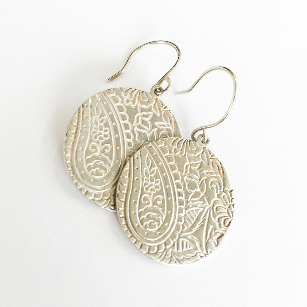 Sterling Paisley Disc Earring -$250