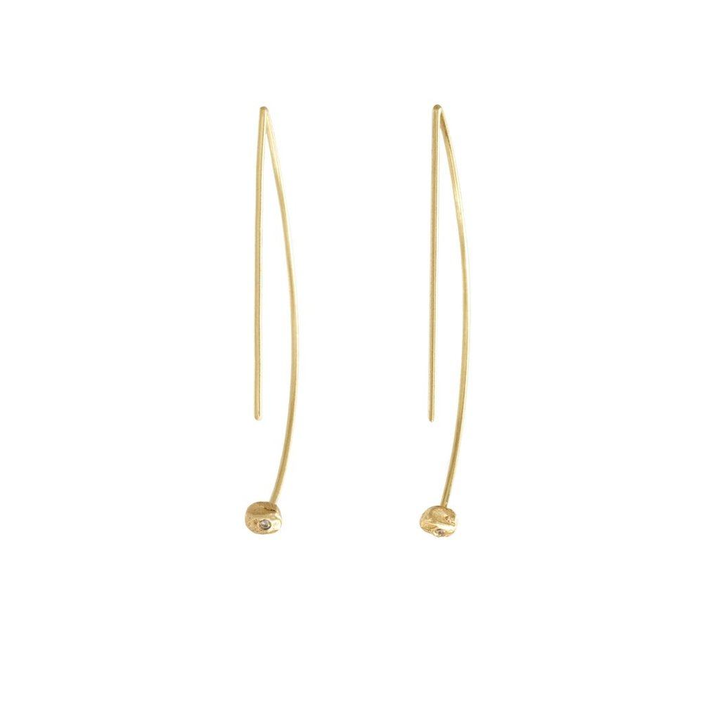 18k Geometric Hoop with Diamond -$400