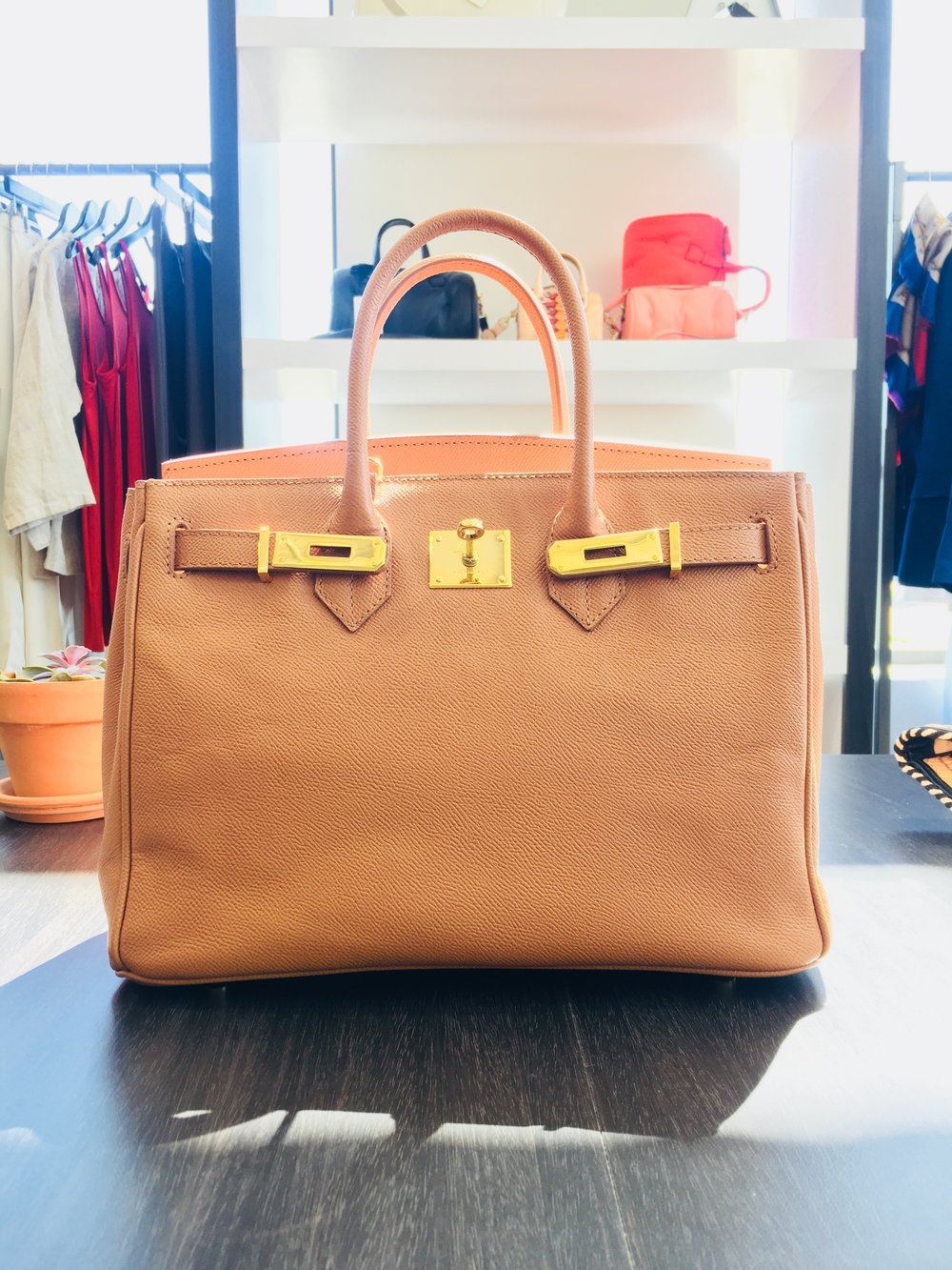 Caty 30cm in Toffee Palmellato Leather -$750