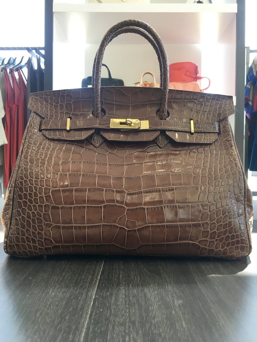 Caty 35cm in Brown Croc -$790
