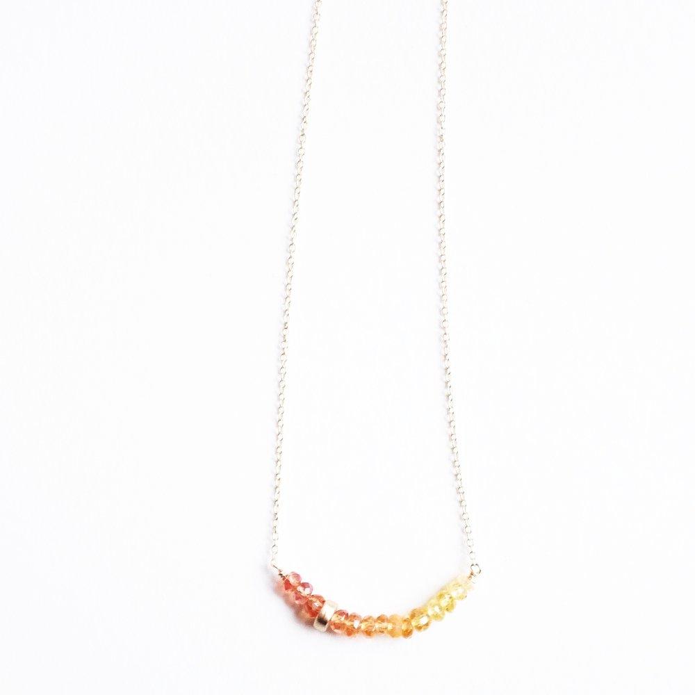 Yellow Sapphire & 10k Bead Necklace -$260