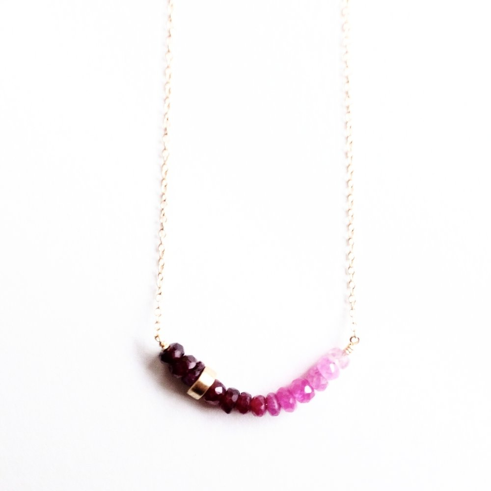 Pink Sapphire & 10k Bead Necklace -$260