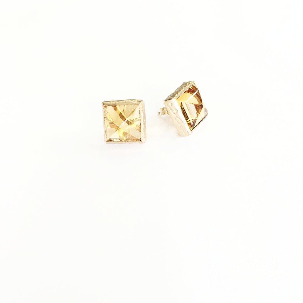 10k Square Citrine Earring -$400