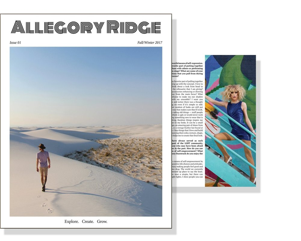 Allegory Ridge No. 001 Allegory Ridge's first, sold-out issue includes Dylan's photography of Stacey Starstruck on multiple full-page features, a two-page spread, and images alongside her interview.