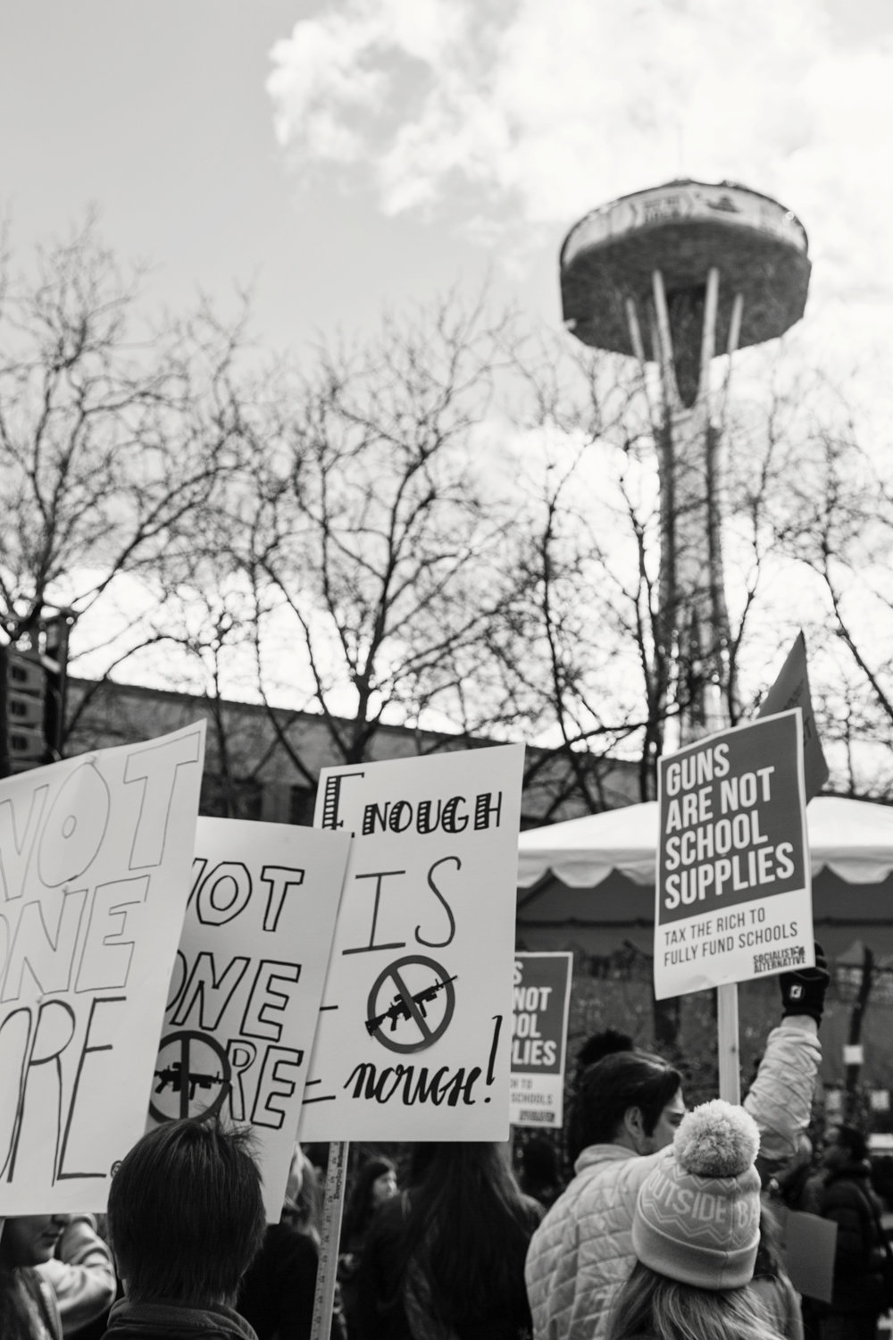 The crowd at Seattle Center, under the Space Needle