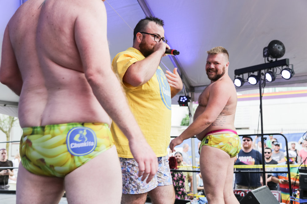 """Big Dipper and his backup dancers, Jake McDermott and Aaron Ness in """"Chunkita"""" wear"""