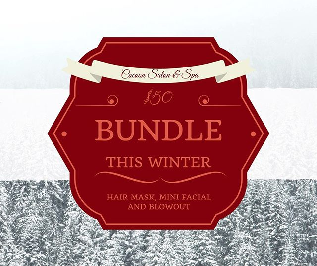 Come in this winter and get a hair mask, mini facial and blowout for $50! #cocoonsalonandspa #davidson #salon #spa #hair #makeup #skincare #style #keune #moroccanoil #reuzel #colorproof #christmasdeals #christmas