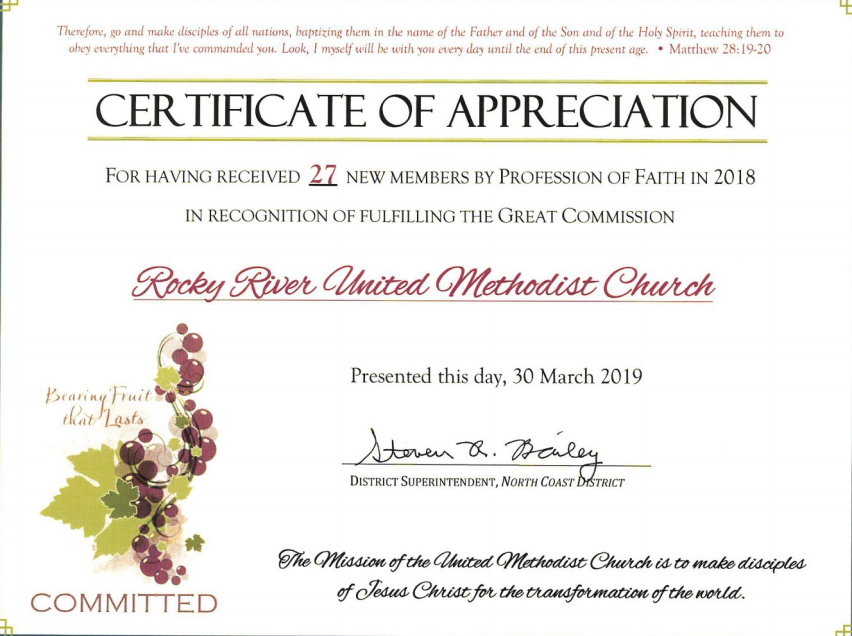 Certificate of Appreciation for receiving 27 new members by profession of faith in 2018.