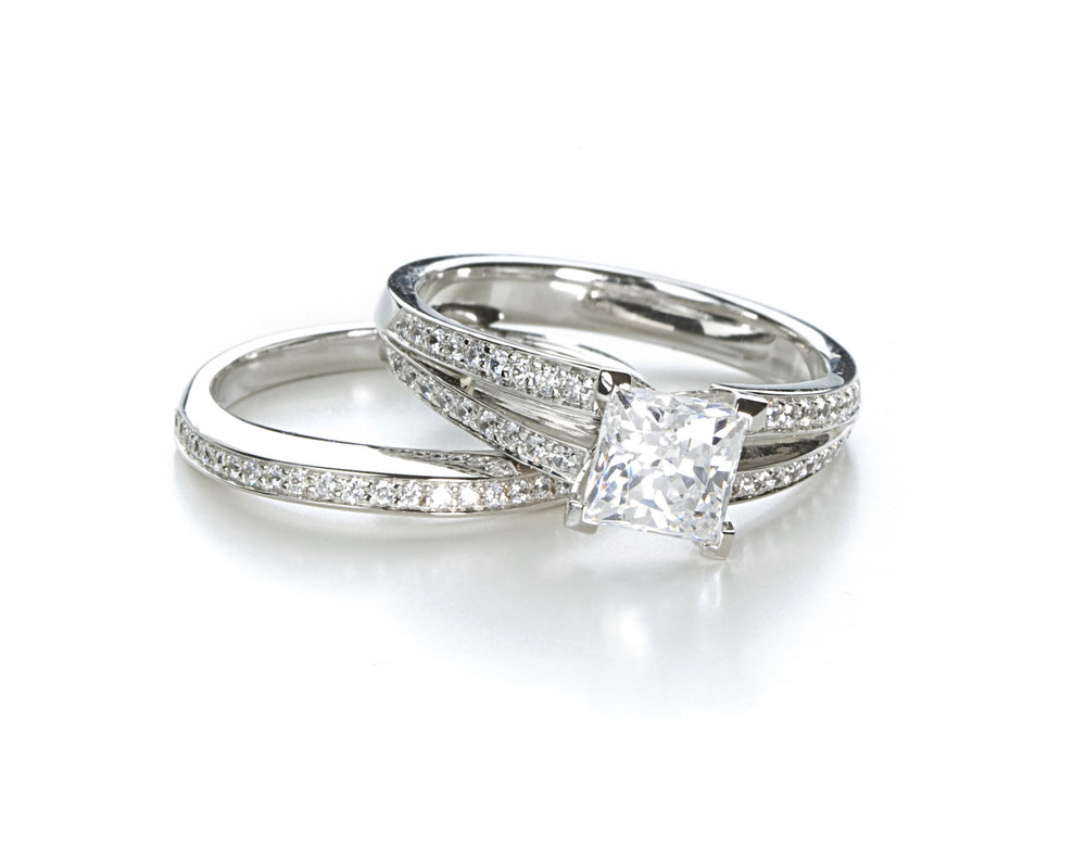 Custom made Diamond Wedding Set