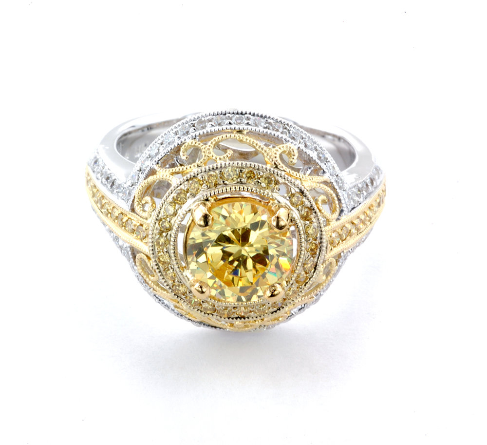 Yellow Diamond Filagree Custom Ring