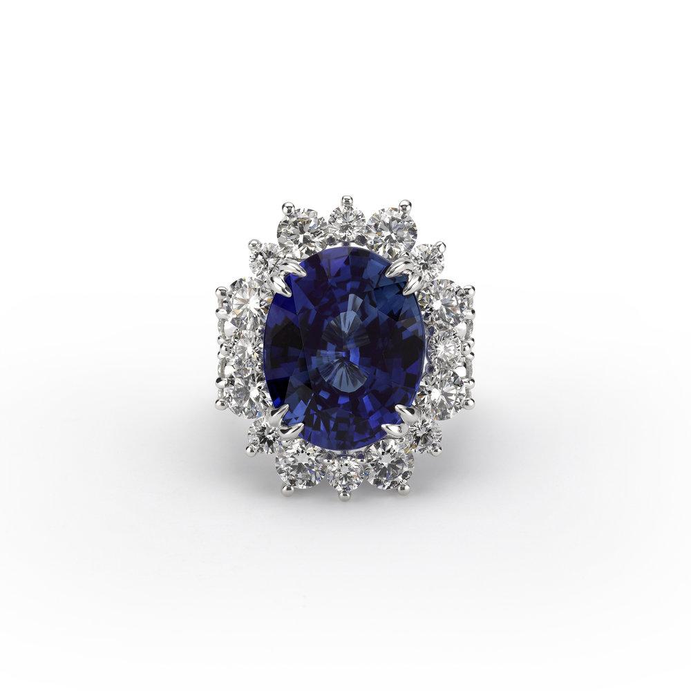 Sapphire Halo Diamond Ring oval