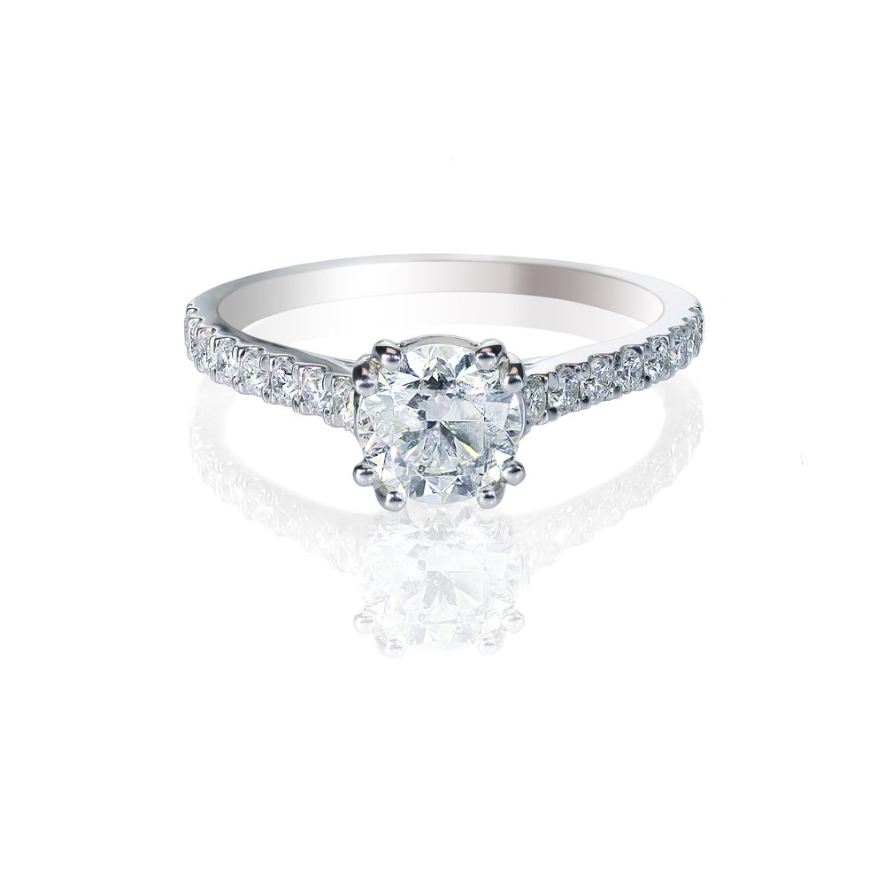 Solitare Engagment Ring with Side stones