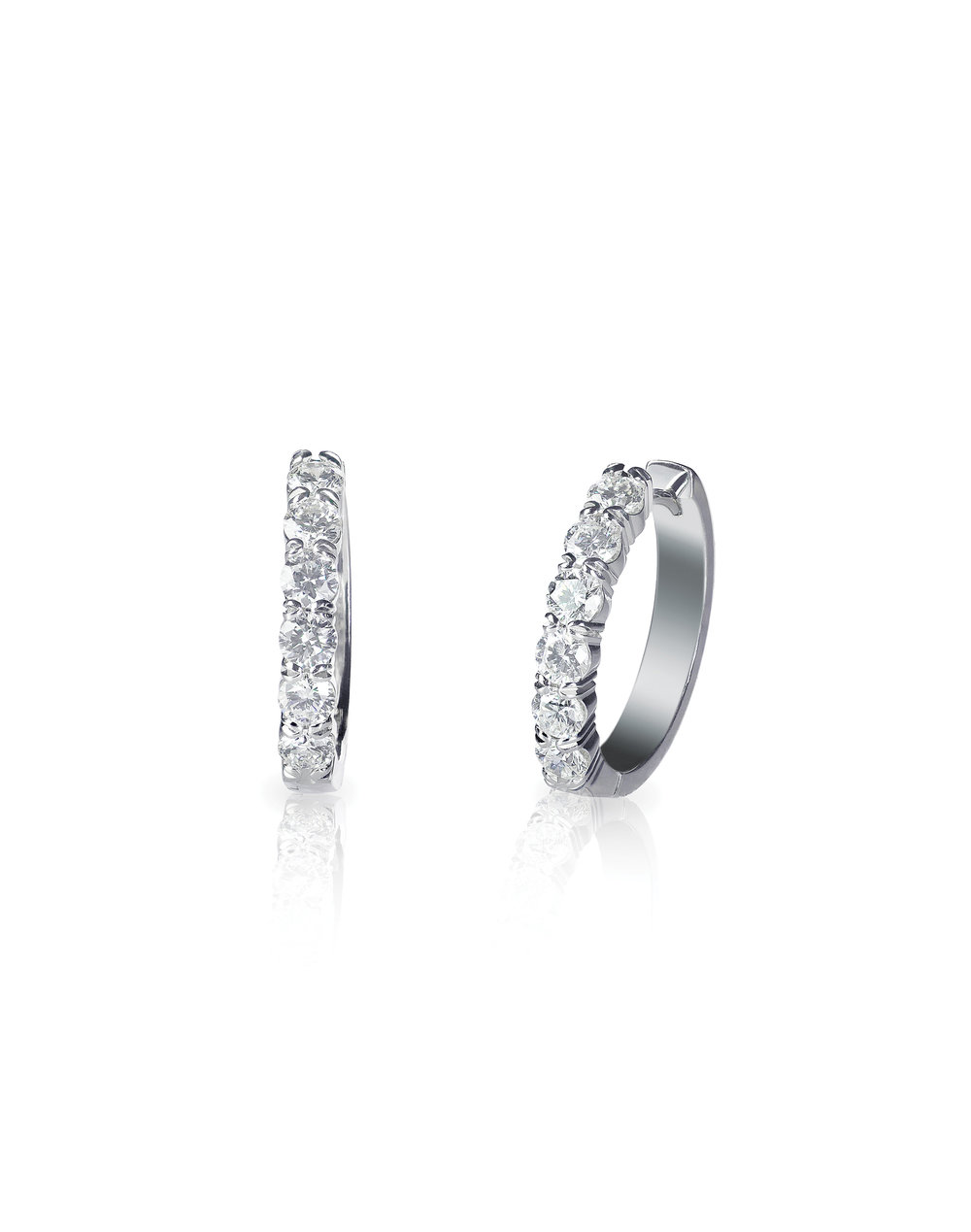 Platinum shared claw diamond hoop earrings