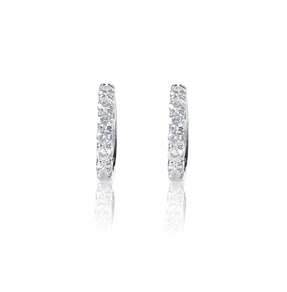 diamond channel earrings