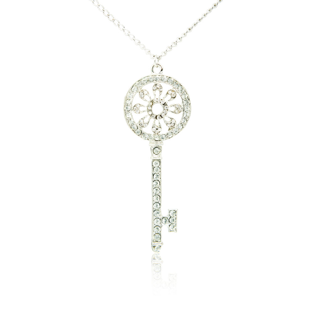 Diamond Platinum Key Pendant