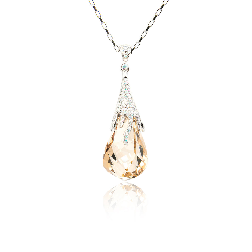 Peach Gemstone Droplet Diamond Pendant