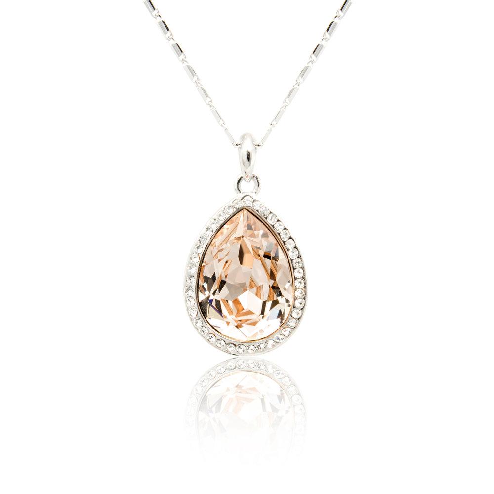 Peach Sapphire Diamond Pendant