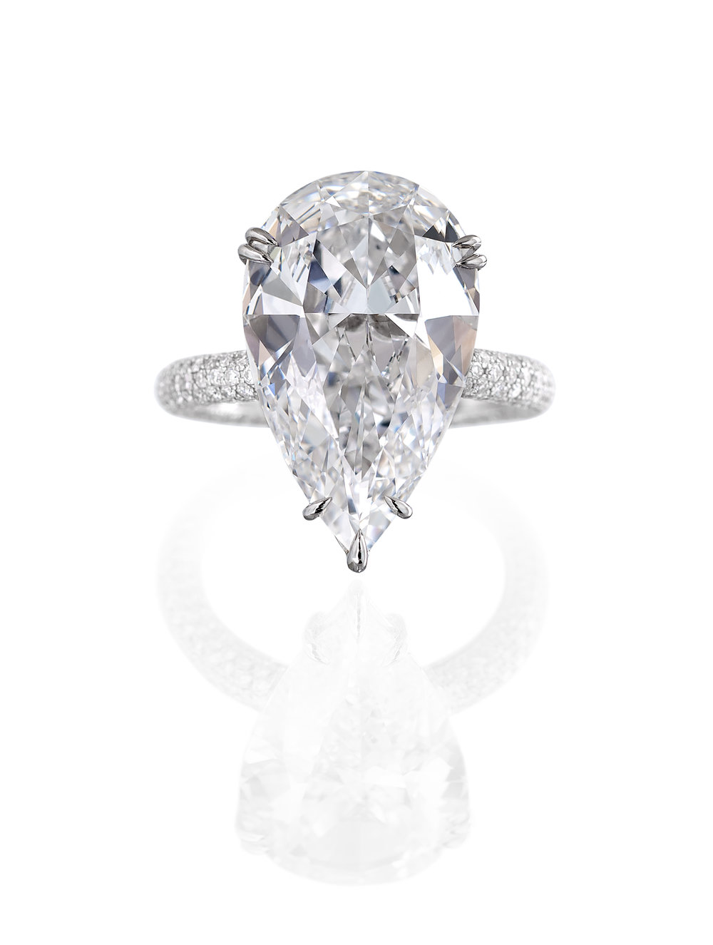 Pear Shape Diamond Pave Ring
