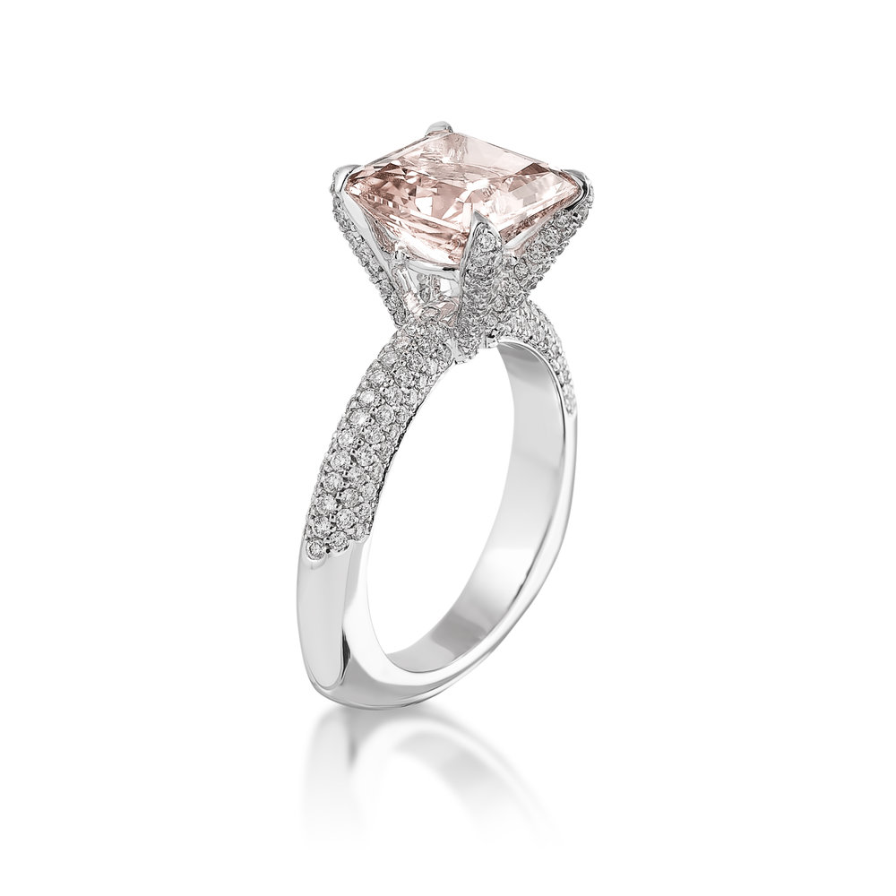 Pink Saphire Diamond Ring