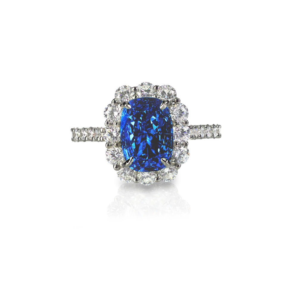 Blue Sapphire Cushion Cut Ring