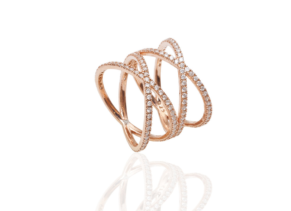 Twisting Rose Gold Diamond Band