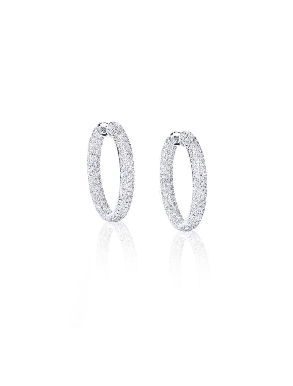 Pave Inside Outside Diamond Hoops