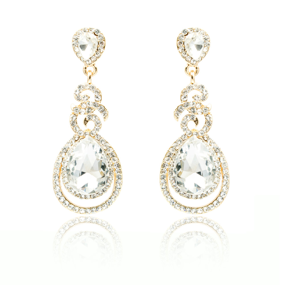 White Sapphire Dangling Diamond Earrings