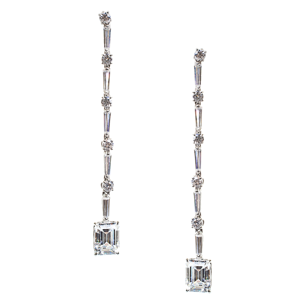 Emerald Cut Long Earrings