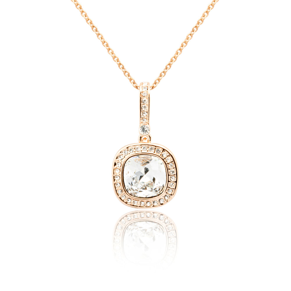 Quartz Cushion Cut Rose Gold Diamond Pendant