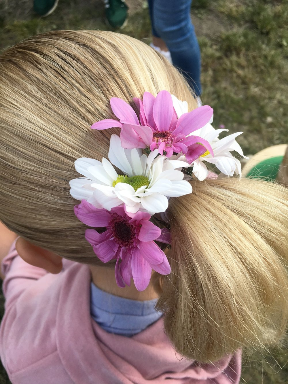 Sweet & Simple Ponytail - decorated with a band of chrysanthemum flowers