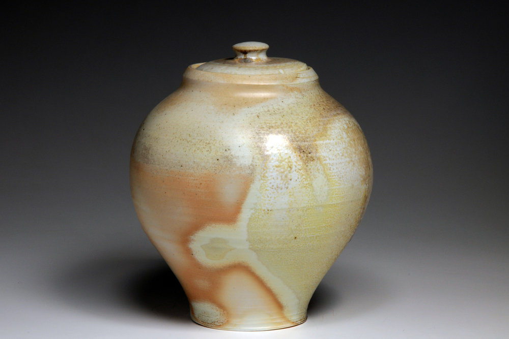 Woodfired porcelain lidded Jar.