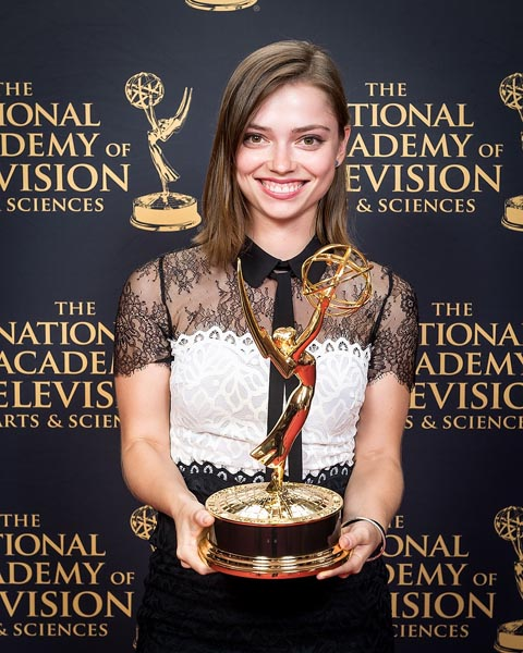 Julia Gorbach with her 2015 Emmy Award for her work with The Skin Deep. Image provided by Julia Gorbach